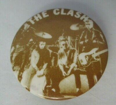 The Clash Vintage Early 1980s US 32mm Sepia Badge Pin Button Punk New Wave • 9.99£