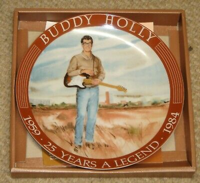 BUDDY HOLLY Mint Boxed 8-inch 25 Years A Legend Commemorative Plate With COA • 27.99£