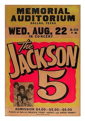 Vintage Music Poster, The Jackson 5 Poster, Concert Poster, Michael Jackson • 37.99£