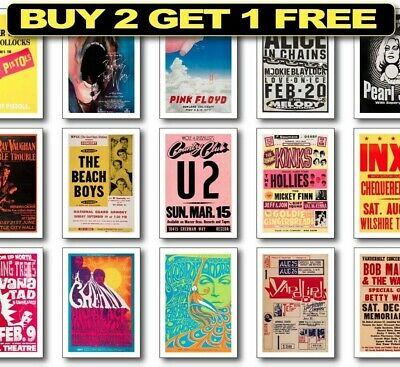RARE ROCK BAND Posters, Rock Concert Posters, 60's Vintage Posters, Wall Art • 8.99£