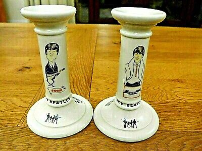 The Beatles Porcelain Candle Stick Holders X 2. Very Unique. Rare Collectable • 19.99£
