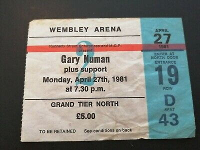Gary Newman Concert Ticket Stub Wembley Arena 27 April 1981 • 3.50£