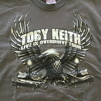 Toby Keith T-Shirt Concert Tour Eagle 2012 Live In Overdrive Gray XL  • 13.46£
