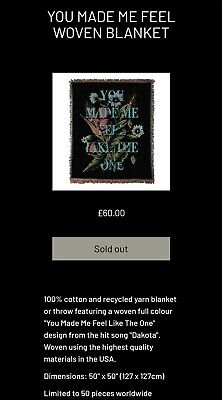 Stereophonics Woven Blanket Limited To 50 Sold Out! Pre Order Xmas Present Music • 125£