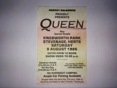 Queen Knebworth Ticket Stub. Freddie's Last Concert 1986 • 60£