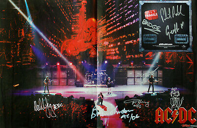 AC/DC Poster 40x30cm Signed By All  RARE !! One Of A Kind !!   With Angus Sketch • 249£