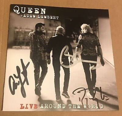 QUEEN & ADAM LAMBERT Live Around The World UK 2020 SIGNED CD + Cassette In Hand • 285£