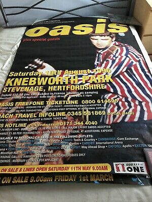 Oasis Rare Noel Liam Gallagher Knebworth Promo Poster Very Good Condition • 35£