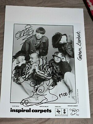 Inspiral Carpets Signed Promotional Photo From 1990 Rare Classic Line Up • 150£