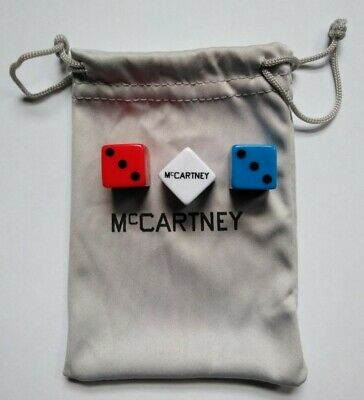 Paul McCartney 3 III VERY RARE OFFICIAL PROMO RED WHITE BLUE Dice Set And Pouch • 45£