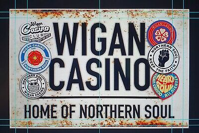 "Wigan Casino Badges Vintage Street Sign, Northern Soul 12""x9"" Metal • 12.99£"