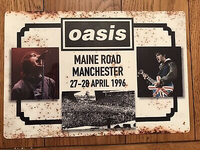 "Oasis Maine Road Poster / Sign Shiny Weatherproof Metal 12"" X 9"" • 14.99£"