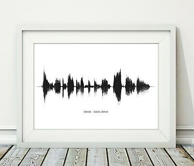 Oasis - Slide Away - Sound Wave Song Art Poster Print BW - Sizes A4 A3 • 6.95£