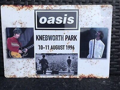 "Oasis Knebworth Poster / Sign Shiny Weatherproof Metal 12"" X 9"" • 14.99£"