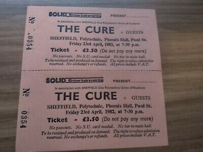 The Cure - Unused Original Concert Ticket - Sheffield Polytechnic 1982 • 29£