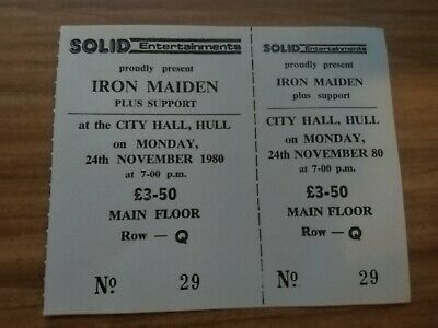 Iron Maiden - Genuine Unused Concert Ticket Hull City Hall - 24th Nov 1980 • 25£