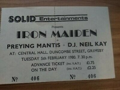 Iron Maiden - Genuine Gig Ticket Grimsby Central Hall - 5 Feb 1980 - Soundhouse  • 25£