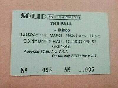 The Fall - Genuine Original Concert Ticket - Grimsby Community Hall May 1980 • 10£