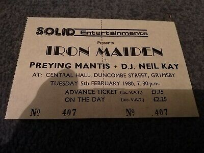 Iron Maiden - Genuine Gig Ticket Grimsby Central Hall - 5 Feb 1980 - Soundhouse  • 30£