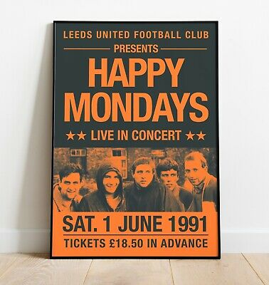 Happy Mondays Gig Poster, Reworked Concert Poster, Wall Art • 9.99£