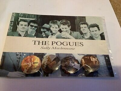VTG 80s RARE THE POGUES METAL BUTTON BADGES X 4 SALLY MACLENNANE  POSTCARD SET • 14.99£