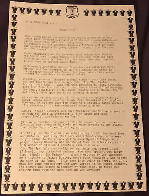 Madness Information Service MIS 2 Page Typed Original 1980 Biography Two Tone • 5£
