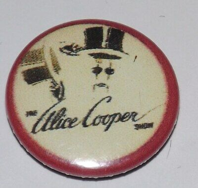VINTAGE 25mm BADGE PIN ALICE COOPER SHOW ROCK HEAVY MUSIC METAL BUTTON OLD BAND • 1.99£