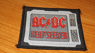 VINTAGE 85mm BADGE PATCH ACDC HEAVY METAL ROCK HEAT SEEKER ANGUS MUSIC OLD BAND • 2.99£