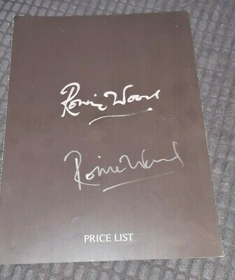 Ronnie Wood Hand Signed Price List Art Gallery. Rare Item Rolling Stones • 149£