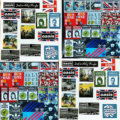 54 X Oasis & Stone Roses Laptop Stickers - Noel Liam Gallagher Ian Brown Manches • 13.99£