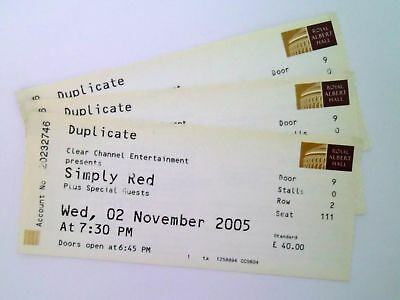 RARE Simply Red Memorabilia - Unused Tickets / Stubs Royal Albert Hall 02/11/05 • 4.99£