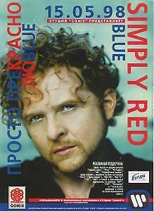 SIMPLY RED Blue FLYER Russia 1998 A4 Size Full Colour Promo Flyer For Russian • 4.20£