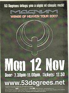 MAGNUM (METAL GROUP) Wings Of Heaven Tour 2007 FLYER UK 53 Degrees 2007 1-Sided • 5.24£