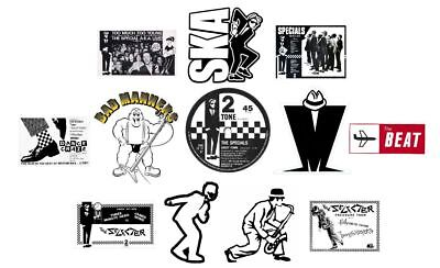 X12 60mm Ska Vinyl Window Stickers 2Tone Specials Madness Selecter Bad Manners   • 6.99£