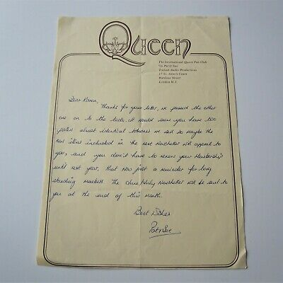 QUEEN - Original 1975 Pat & Sue Handwritten Official Fan Club Letter  • 195£