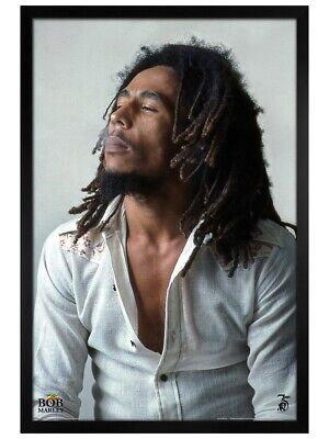 Bob Marley Poster Black Wooden Framed Redemption 61x91.5cm • 31.49£