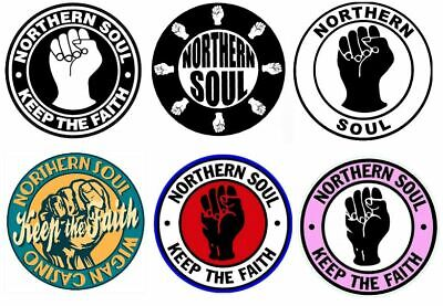 X6 90mm Vinyl Stickers Northern Soul Retro Classic Vintage Laptop Keep The Faith • 5.50£
