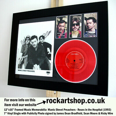 Manic Street Preachers SIGNED JAMES+NICKY+SEAN PHOTO +ROSES 7  Red Vinyl Single • 139.98£