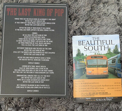 Paul Heaton Last King Of Pop.Rare Tour Promo Flyer Posters The Beautiful South • 5.99£