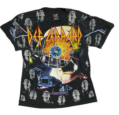1992 Def Leppard All Over Print Vintage 90s Mens XL T Shirt Giant By Tee Jays • 239.44£