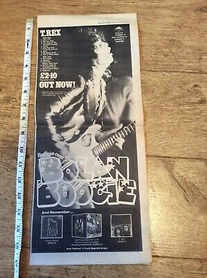 T Rex - Bolan Boogie - Vintage Music Newspaper Advertisement 1972 • 9.99£