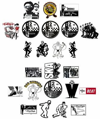 X24 6cm Ska Vinyl Window Stickers 2Tone Specials Madness Selecter Bad Manners   • 13.99£