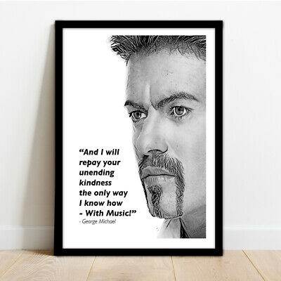 George Michael Framed Illustration Print With Quote! • 13.99£