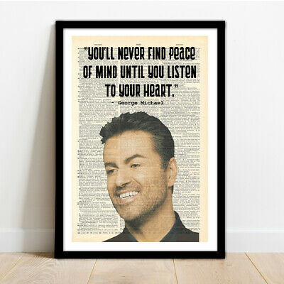 George Michael Framed Illustration Print With Quote! • 14.99£