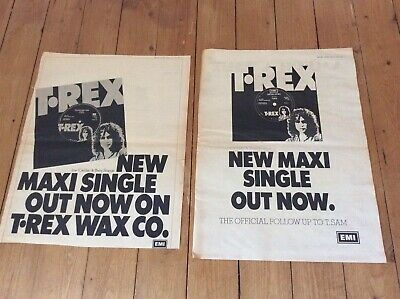 T Rex - Metal Guru/Telegram Sam - Vintage Music Newspaper Advertisements 1972 • 20.99£