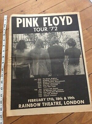 Pink Floyd Tour Dates Music Newspaper Advertisement 1972 • 25.99£
