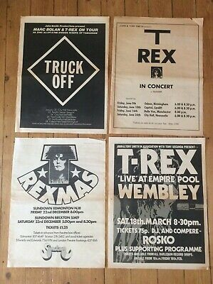 T Rex Vintage Concert Dates Music Newspaper Advertisement Posters 1972/74 X 4 • 29.99£