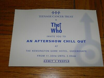 The Who - Vintage Original Aftershow Party Invite RARE • 29.99£