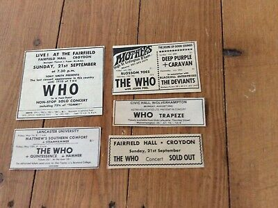 The Who Concert Dates Music Newspaper Advertisements Cuttings 1969/70 Job Lot  • 19.99£