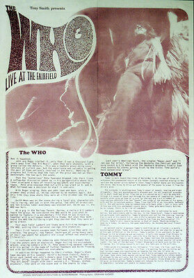 The Who Repro 1969 Croydon Fairfield Hall 21 Sept Concert Poster • 6.99£